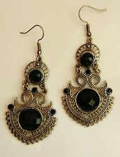 Black classy ethnic drop earrings women luxury crystal shine double medium metal
