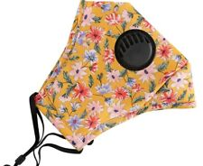 Adults Mustard Floral Reusable face mask with pm 2.5 pocket and breathing valve