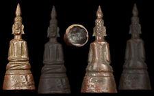 """PHRA JINGHONG ANCEINT BUDDHA LANCHANG ERA BRONZE 4.25"""" STATUE OLD THAI AMULET"""