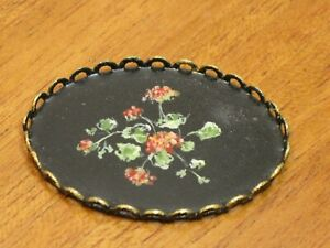 Florence Magee Hand Painted Large Oval Toleware Tray Artist Dollhouse Miniature