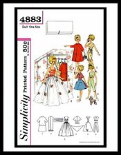 """Simplicity 4883 TAMMY 12"""" Vintage Fashion DOLL Fabric Sewing Pattern Barbie 60's"""
