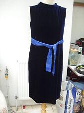 Escada gorgeous navy velvet dress 36e 6us 10uk black & RED label once worn