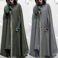 ZANZEA Women Hooded Open Front Cardigan Trench Long Coat Cloak Poncho Size 10-24
