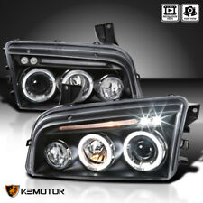 2006-2010 Dodge Charger Halo LED Projector Headlights Black