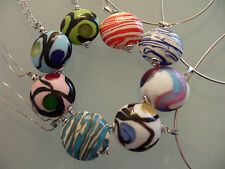 Chain Pendant Necklace Silver 925 Murano Glass Jewelry Glass Murano Art