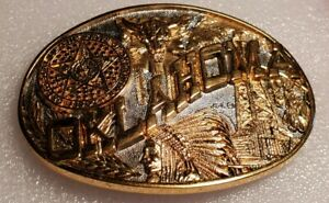 VINTAGE 24k Gold Plated *OKLAHOMA* State First Edition. BELT BUCKLE