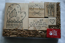 Lot of boxed wooden rubber stamps holiday mitten present heart scrapbooking