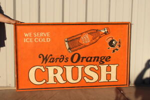 "Large Vintage 1940's Orange Crush Soda Pop Gas Station 58"" Metal Sign"