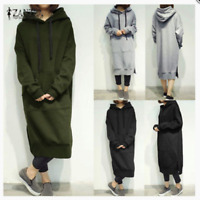 Women's Long Sleeve Loose Hoodies Fleece Dress Hooded Long Kaftan S-5XL Fashion