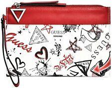 NWT GUESS FELTON WRISTLET BAG Logo Graffiti Clutch Pouch Handbag Wallet GENUINE