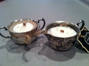 VINTAGE CREAMER & SUGAR HOMEMADE SOY CANDLE. MAKES GREAT HOUSE OR THANK YOU GIFT
