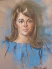 LARGE 1960's RAYMOND HALNEY PASTEL PORTRAIT OF PRETTY WOMAN FEMALE MODEL
