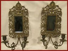 BELLE PAIRE APPLIQUE MIROIR BRONZE 19éme Napoleon III bougeoir sconce mirror