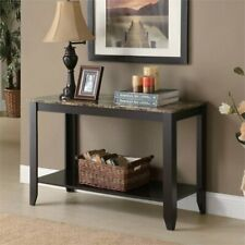 Monarch Faux Marble Top Console Table in Cappuccino