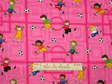 Soccer Kids Playing Sport Pink Gym Timeless Treasures Cotton Fabric  2 Piece Lot