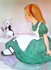 Vintage Illustration Alice In Wonderland Green Dress Rabbit 5x7 Fabric Block