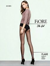 Fiore, Flare, Patterned Tights, Metallic Pattern, Black, Size 2, 20 Den