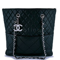 f7e4fbfe7ec8 Chanel Dark Blue-Black Quilted Caviar Brushed Gold Charm Tote Bag ...