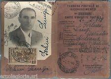 60969 - 200 L.  LAVORO su DOCUMENTO D'EPOCA: TESSERA POSTALE RICONOSCIMENTO 1956