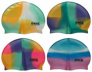 CHEX Strong 100% Silicone Abstract Adults Swimming Hat Swim Cap Blue Green Pink