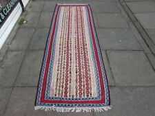 Old Traditional Hand Made Persian Oriental Wool Red Kilim Short Runner 239x84cm