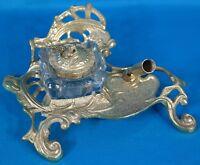 Vintage Brass Inkwell w/ Swivel Pen Holder