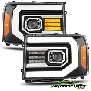 Fit 07-13 GMC sierra 1500/07-14 2500/3500HD Polished Black Headlights W/LED DRL