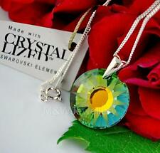STERLING SILVER CHAIN NECKLACE WITH SWAROVSKI ELEMENTS SUN SAHARA - FROSTED 19mm