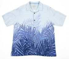 TOMMY BAHAMA Men's Size Large Camp S/S Silk Shirt Palm Leaves Blue
