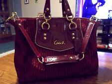 COACH BORDEAUX BURGUNDY ASHLEY GATHERED SATEEN CONVERTIBLE SATCHEL SHOULDER BAG