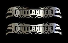 "(2) OUTLANDER CAN-AM Chrome Vinyl Decals- 6"", QUAD, ATV, SNOWMOBILE, CAR, TRUCK"