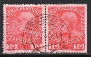 Austrian POs in Crete: 1908 Franz Joseph 10c pair used in Jerusalem