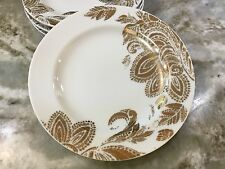 Nicole Miller Dessert Plates. Gold Abstract. Set Of 4. New.