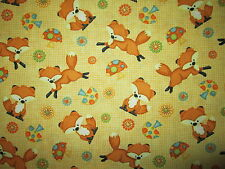 FOX BUSHY FOXES MUSHROOM FLOWERS YELLOW TAN COTTON FABRIC BTHY