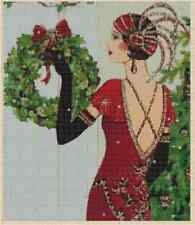 Art Deco Lady with Christmas Wreath Counted Cross Stitch COMPLETE KIT No.1-56