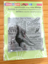 """New - Cling Rubber Stamp - Button Shoe - Vintage Background - 9""""  Square"""