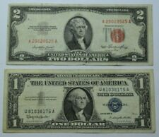 1957B $1 Blue Seal Silver Certificate &1953 $2 Red Seal US Note Set Legal Tender