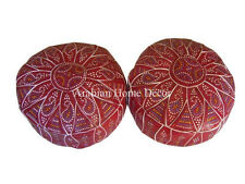 Set of 2 Handcrafted Moroccan Red Ottoman Goat Leather Pouf Pouffe Footstool