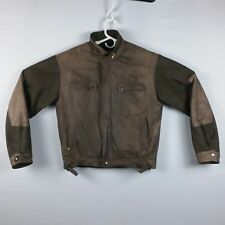 VTG William Barry Mens M Leather and Canvas Patchwork Hooded Bomber Jacket EVC!