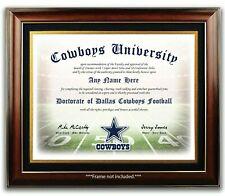 DALLAS COWBOYS NFL Football Fan Certificate / Diploma Man Cave - CHRISTMAS GIFT