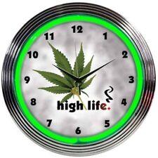 High Life Smoke Weed Marijuana Neon Clock Green 15 Inch Office Game Room Garage
