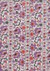 Eastham Thistle Floral Stripe Half Metre - 100% cotton - 50 x 110 cms