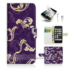 ( For iPhone 5 / 5S / SE ) Wallet Case Cover! Purple Flower Pattern P0202