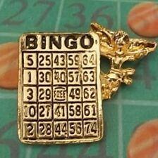 Guardian Angel Bingo Lapel Pin on Bingo Angel Card, Antique Gold Plate USA, NEW