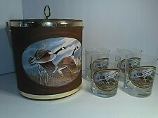 Vintage Canada Goose Ice Bucket w/ 4 Matching Low Ball Goose Glasses Bar Ware