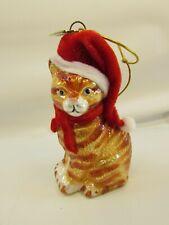 Kurt Adler American Short Hair Orange Tabby Cat Glass Christmas Ornament 33059