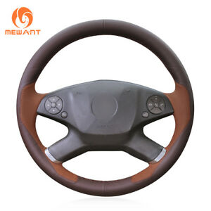 Wine Red Brown Leather Steering Wheel Cover for Benz E-Class W212 2010-2011