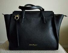 Salvatore ferragamo Black Pebbled Leather Amy Tote Handbag $1250 INSTORES NOW !