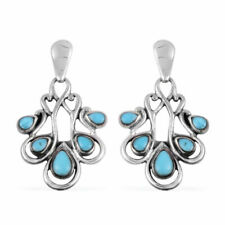 Southwest Vintage Jewelry 925 Sterling Silver Turquoise Dangle Drop Earrings