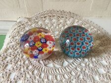 2 Millefiori Paperweights both approx 60mm x 45mm + Caithness Mooncrystal